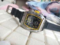 2021 최신 버전 손목 시계 기계적 투명 블랙 다이얼 고무 스트랩 밴드 고품질 자동 망 시계 시계