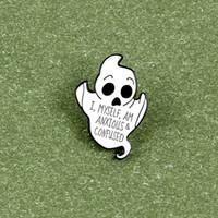 """""""Yo mismo soy Anxiousconfused"""" punk gótico temible túnica blanca fantasma joyas broche para el partido de Halloween de los niños Colgante"""