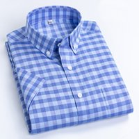 MACROSEA Повседневный Leisure Design Плед Высокое качество Мужские рубашки Социальные 100% хлопка с коротким рукавом Мужские рубашки МЛРД CX200618
