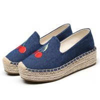 Ricama Mocassini da donna Casual Slip on Scarpe Espadrillas donna Canvas Flat Platform Shoes chaussure femme