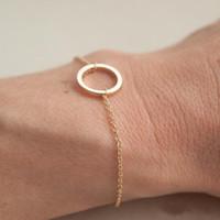 30 Simple Dainty Cercle creux Chaîne Chaîne Bracelets Contour Géométrique Bracelet Eternity Karma rond Femme chanceuse Mère Homme Famille Cadeaux Bijoux