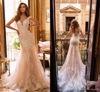 2019 Berta Champagne decote Sereia vestidos de casamento completa Lace apliques Tulle casamento vestidos de noiva vestido de novia