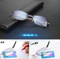 Rimless Reading Glasses Women Men Transparent Blue Light Blo...