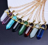 2020 collana pendente dell'oro di pietra naturale Druzy Drusy catena proiettile gioielli esagonale Prism collana I cristalli di quarzo girocolli collane D21903