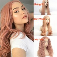 Rosa Peruca Natural Hairline Glueless sintético Lace frontal Perucas para Black White Women rosa reta longa onda do corpo Kinky Curly Wig Cosplay