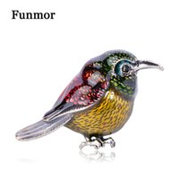 wholesale Large Colorful Enamel Birds Brooch Corsage Silver ...