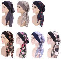 Dames Turban Hoed 7 Kleuren Moslim Hijab Bloem Gedrukt Turban Cap Cover Hoofd Sjaal Wrap Hoofddeksels Strech Bandana LJJO7656