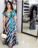 Vestido maxi de rayas largas de color de verano para niña Fashion Africaine Robe Ropa africana Ropa de África