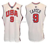 2000 team olimpico USA Vince Carter # 9 retrò basket jersey mens cucito personalizzato qualsiasi numero Nome maglie