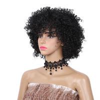 أزياء قصيرة غريب مجعد الأفرو الباروكة الاصطناعية اللون الأسود الباروكات للنساء الألياف مقاومة للحرارة للاستخدام اليومي
