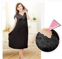 Shipping Free Women Black Lace Sexy Nightdress Girls Plus Si...