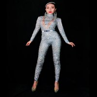 Femmes Nouvelle Mode Gris Argent Strass Sexy Jumpsuit Stretch Body Sexy Stage Performance Party Célébrer Nightlcub tenue