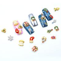 Navidad cristalina del encanto de la aleación 3D manicura fuentes 10pcs / set Reno lindo Decoración de uñas Rhinestone festiva Accesorios