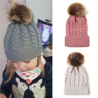 Baby Crochet Caps Kids Fur Ball Twisted Knitted Hats Imitation Braid Hairball Wool Cap Children Winter warm Hat 9 Colors Accessories M559