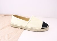 Lüks Kadın Espadrilles Tasarımcı Deri Slip-On Rahat Ayakkabılar Yaz Patchwork Kadınlar Düz Rahat Espadrilles Düşük Kesim Beyaz kanvas Ayakkabılar