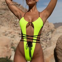 Sollinarry High cut Summer bodysuit Bikini Women Bandage tho...