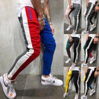 Mode Herren Fleece Gym Hose Reißverschlusstaschen Skinny Slim Fit Hose Kontrastfarben Sweatpant Joggers Jogginghosen M-XXL