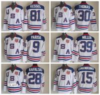 États-Unis Jersey de hockey sur glace 2010 Équipe OLYMPIC Bleu 9 Zach Parise 88 Patrick Kane Phil Kessel 28 Brian Rafalski 39 Miller 15 Langenbrunner