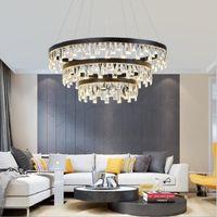 oda yatak odası yemek için kristal avize Foyer de Salon Büyük parlaklığını koruması için yuvarlak LED 3 Katmanlar Modern Kristal Avizeler