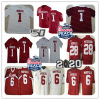 2019 Männer NCAA Oklahoma Sooners 1 Jalen Hurts Fußball Jersey Kyler Murray 6 Baker Mayfield 28 Adrian Peterson Rot Orange Peach Bowl 150.