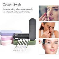 2pcs reutilizável Silicone Cotonete Com Caso olho orelha limpeza lavável Maquiagem Cotonetes macia flexível Make Up Tools