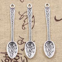 8 stks bedels dollar lepel geld 57x12mm antieke bronzen zilverkleurige hangers maken DIY handgemaakte Tibetaans vinden sieraden
