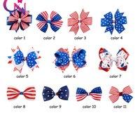 Meninas bandeira americana Grampos fita Barrettes Bow cabelo clipe Independence Day Bow clipe de cabeça Headwear Crianças bowknot Cabelo Acessório EZYQ377