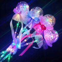 Juguete Decoración Forma 1pcs intermitente Juguetes Led luminoso de la bola de la estrella del corazón del banquete de boda de Navidad para los niños Hada varita mágica