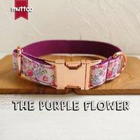 MUTTCO vente au détail collier personnalisé chien particulier la pourpre FLEURS colliers de chien de style créatif et Laisses 5 tailles UDC049M