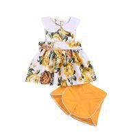 여름 새로운 아기 소녀 면화 꽃 인쇄 된 옷깃 민소매 드레스 탑 + 짧은 바지 2pcs / 세트 복장 아이 패션 의류 세트 M912