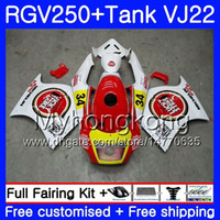 Body + Tank for SUZUKI VJ21 RGV250 88 89 90 91 92 93 307HM.0 RGV-250 VJ22 RGV 250 1988 1989 1989 1990 1991 1992 Fairing kit Lucky Strike red