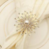 لؤلؤة الشمس زهرة فندق مطعم منديل مشبك نموذج غرفة منديل الدائري الفم دائرة الماس حفل زفاف زينة