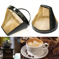 Tea Tools Substituição Filtro de Café Reutilizável Cesto de Refil 10-12 xícaras Permanentes Coffees Máquina Filtros de Malha de Ouro com Handle Cafe