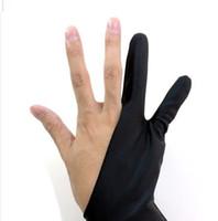 아티스트의 안티 - 파울 링 장갑 장갑 블랙 두 손가락 오른쪽 왼손 땀 방지 그래픽 태블릿 장갑 회화 용품 K798