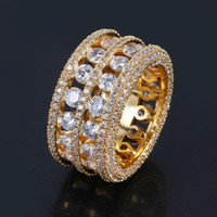 Hip Hop Ring Brass Gold Silver Color Iced Out Micro Pave CZ ...