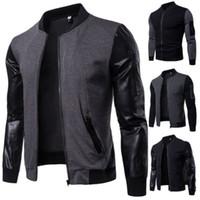 Veste homme d'hiver épais Mode Patchwork Veste Hiver chaud PU Manteau de Bombardier Flight Baseball en cuir Outwear