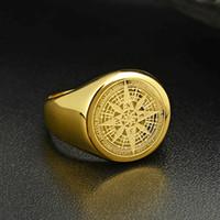 Valily ювелирных изделий мужских кольца Простой дизайн кольцо компас золото из нержавеющей стали мода черного пояса кольцо для женщин мужчин Навигатора колец
