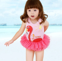 Girls lace tulle tutu pageant swimming kids flamingos love h...