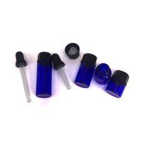 Черная резиновая стеклянная капельница Центрика с небольшим голубым стеклянным креном эфирного масла бутылки на небольшой бутылке 1мл 2мл 3мл 5мл для косметического воска
