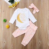 Newborn Baby Girl Stars Moon Letter Print Clothes Rompers Pa...
