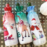 Weihnachtsdekoration Weihnachtsmann Weinflasche Abdeckung Weihnachtsmann-Flaschen-Halter-Tasche Schneemann-Weihnachten Weinflasche Kleiden Home Decoration VT0758