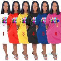 حار تصميم الصيف امرأة فضفاض فساتين rainbow الشفاه طباعة السيدات عارضة فستان فاخر في الهواء الطلق شاطئ الرياضة مثير طويل تي شيرت الملابس D5704