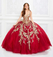 2020 Splendida Red Quinceanera Abiti Gold Lace Appliqued Corpetto Corsetto Prom Dress V Neck Ball Gown Princess Wear Lace-up indietro