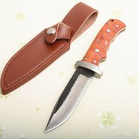 Spécial offfer pure Fait main en acier de survie Goutte droite Couteau Mille-couche Pointe Lame en bois poignée en cuir gaine