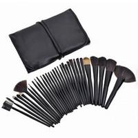 Maquillage 32PCS brosse cosmétiques Fondation Blending Pinceau Ombre à paupières Applicateur Mini pinceau de maquillage kit avec sac cosmétique (noir)