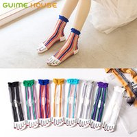 GUIEM HOUSE 8Pairs lot Cotton Transparent Crystal Women Sock...
