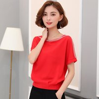 good quality Casual Chiffon Blouse Women O Neck Short Sleeve...