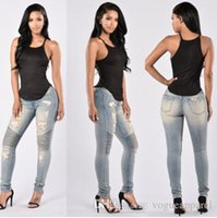 Ripped Sexy Skinny Jeans para mujer de cintura alta Slim Fit Denim Pants Slim Denim Straight Biker Skinny Ripped Pencil Pants