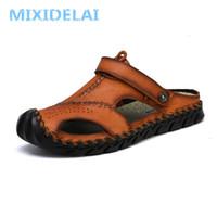 MIXIDELAI yeni büyük boy 38-46 hakiki deri erkek sandalet yaz kaliteli Plaj Terlikleri gündelik Ayakkabı açık Roma Plaj ayakkabısı T200420
