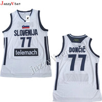 vente chaude broderie Hommes # 7 Doncic Jersey Throwback Basketball Jersey slovenija Équipe Rétro Piqué Chemises Europe 77 # Collège Luka JERSEY